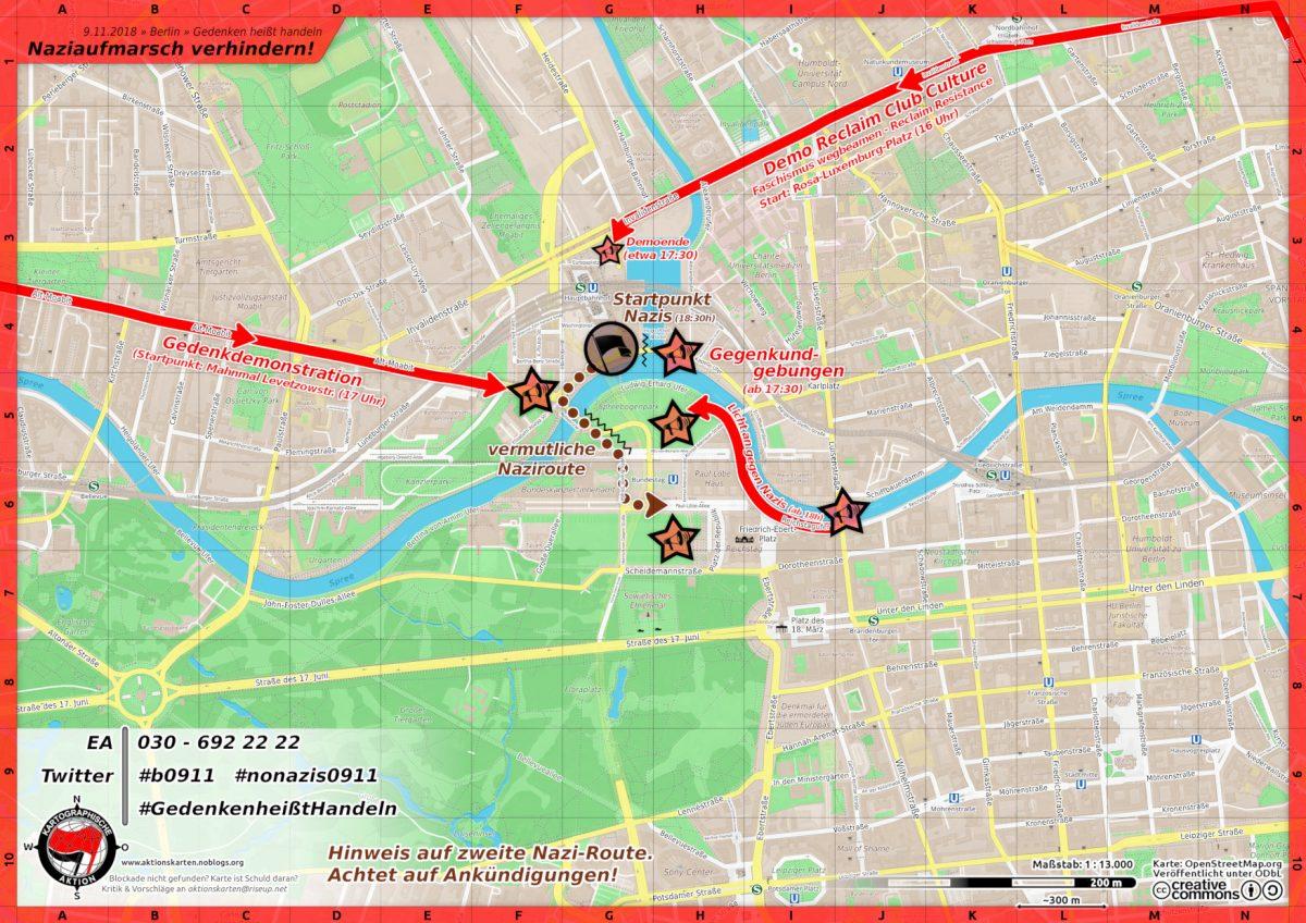 Erste Aktionskarte zum Naziaufmarsch am 9. November